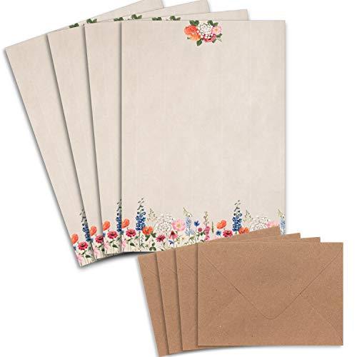 Juego de 25 pliegos de papel de cartas, DIN A4, papel natural, diseño de flores con...