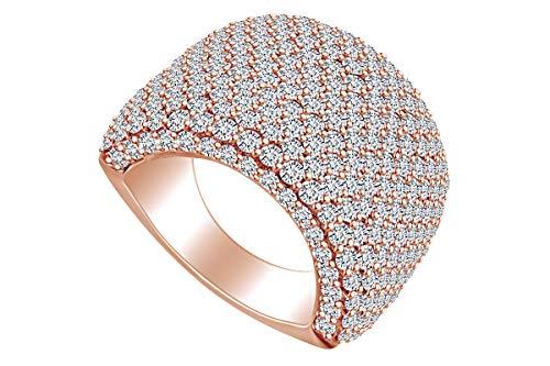 Anillo de cúpula de diamante natural blanco con forma redonda de 5,12 quilates (peso...
