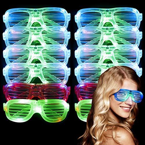12 Gafas Luz LED, Gafas Luminosas  3 Modos de Luz, 4 Colores, Botón On/Off  Juguetes...