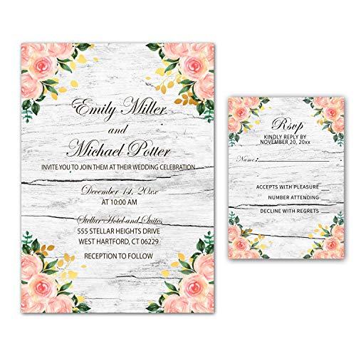 Juego de 100 invitaciones de boda rústicas con diseño floral rosa dorado + sobres +...