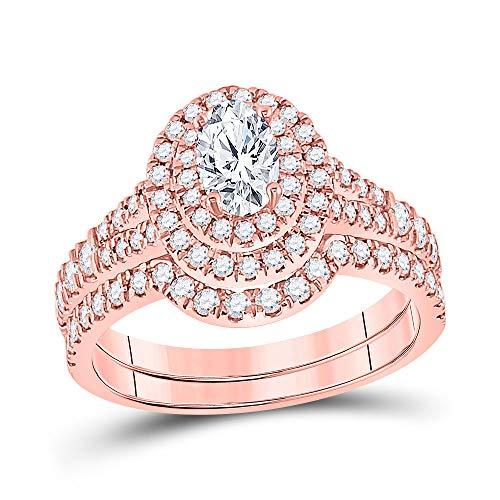 Diamond2Deal - Juego de alianzas de boda de oro rosa de 14 quilates, diseño ovalado, 1...