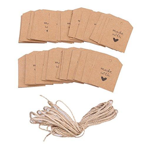 ULTNICE 100 piezas hechas con amor muestra papel de etiqueta de la etiqueta del regalo con...