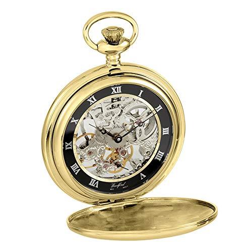 Woodford Hunter 17 Jewel - Reloj de bolsillo trasero con diseño de esqueleto (chapado en...