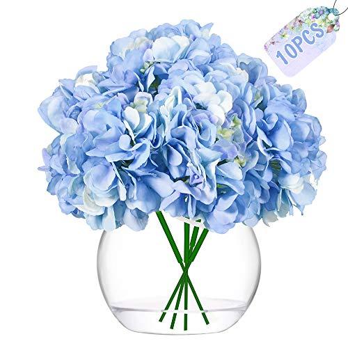 JUSTIDEA Flores Artificiales Hortensia Flor Falsa Ramo de Flores Azul para Decoración de...