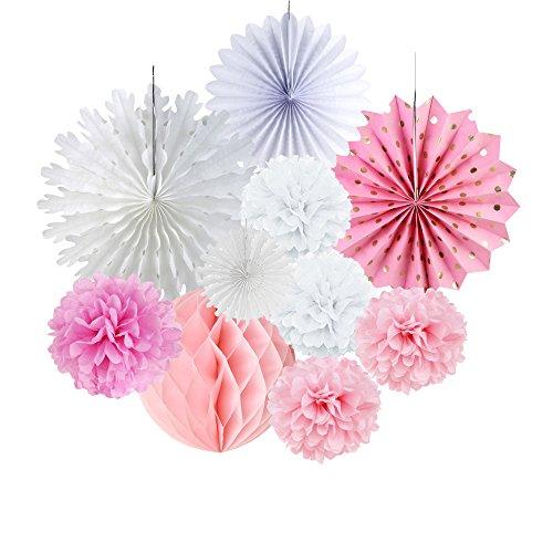 SUNBEAUTY 11 pcs Decoración Pompon de Papel Rosa Rosette Blanco para el Aniversario,...