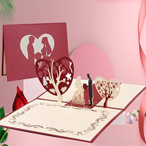 Tarjeta de Felicitación Pop Up 3D, Tarjeta de San Valentín con Sobre, Tarjeta de...