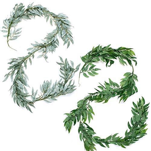Oumezon 2 unidades de 1,85 m de mimbre artificial colgante hojas Ivy ratán guirnalda de...