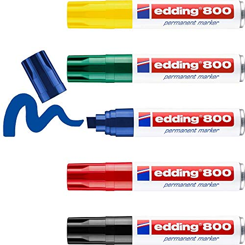 Edding 800 marcador permanente - multicolor - 5 rotuladores - punta biselada 4-12 mm -...