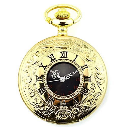 Gobesty Reloj de bolsillo vintage de acero para hombre con cadena dorada, con cierre de...