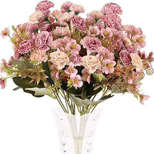 XHXSTORE 4pcs Ramo de Flores Artificiales Claveles de Seda 5 Rama con 11 Flor Peonía...