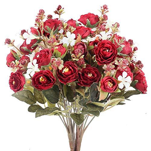 NAHUAA 4pcs Flores Artificiales Rosas Flores Falsas Decoración del Hogar Arreglos...