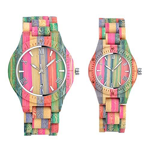 Unendlich U- Reloj de Madera para Mujer y Hombre Hecho a Mano en Madera de bambú con...