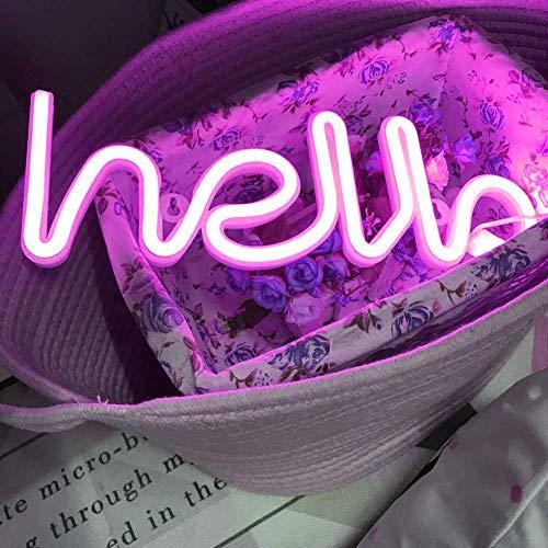 Luces de neón LED Luces Hola Forma Letreros de neón Palabra Luz Decoración de pared...