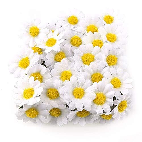 UFLF 100pcs Flores Margaritas Artificiales Blanco 4cm Cabezas de Giralsol Pequeña de Seda...