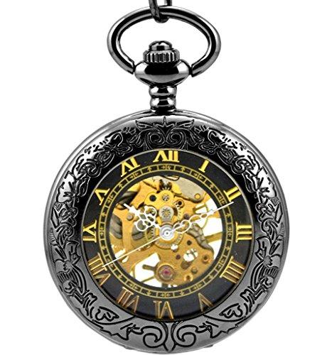 Stayoung Steampunk Antiguo Negro Números Romanos Cuerda Manual Reloj de Bolsillo...