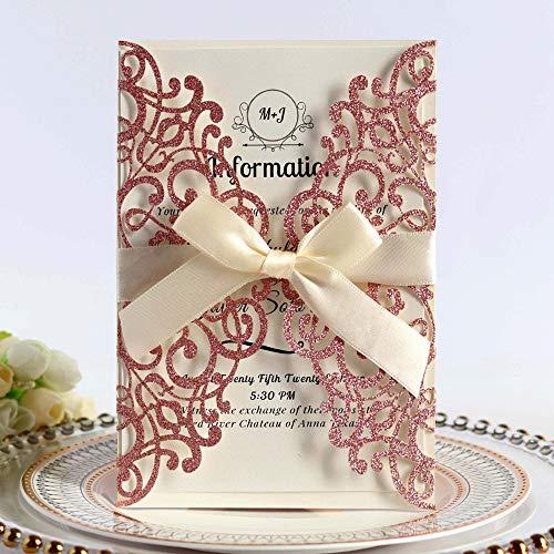 JOFANZA 20 tarjetas de invitaciones de boda con cinta y sobres, con corte láser, para...