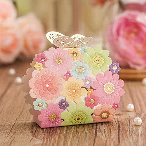 Caja del caramelo de la boda de la mariposa cortada con láser 100 elegantes habitaciones...
