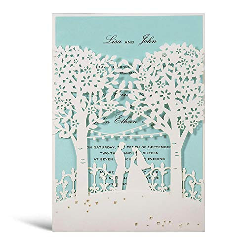 WISHMADE 20x tarjetas de invitación de árboles cortadas con láser blanco Novia y novio...
