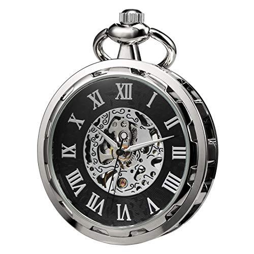 TREEWETO Reloj de bolsillo Esqueleto Cara Abierta Hombres Antiguo Bronce Mecánico Mano...