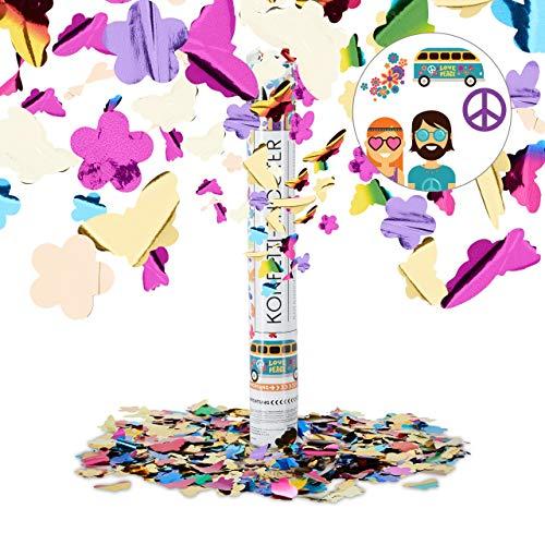 Relaxdays Cañón Confeti de Mariposas y Flores, Plástico, Multicolor, 40 cm