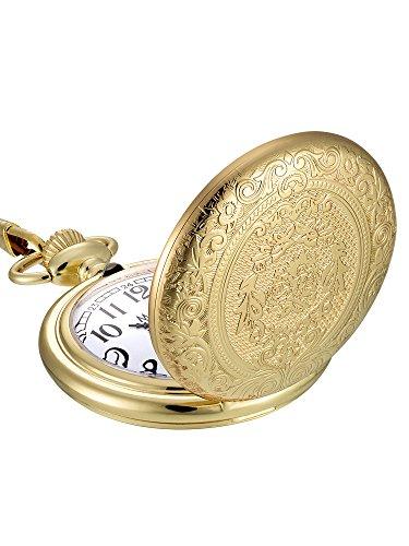 Reloj de Bolsillo de Cuarzo de Acero Inoxidable Vintage Dorado con Cadena de Collar