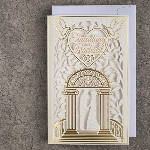 ART NUVO Invitaciones de boda – 20 unidades, 130 x 205 mm, con inserciones imprimibles y...
