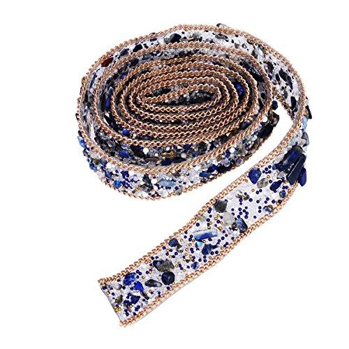 ULTNICE Crystal Rhinestone Dress Sash Belt DIY Hats Shoes Bag adornos 1m (azul)
