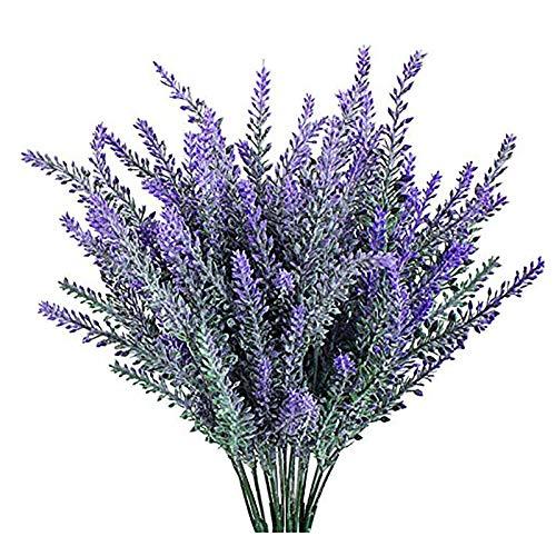 JustYit 4 Flores Artificiales Lavanda Artificial  Flores Artificiales de Lavanda 5 Cabezas...