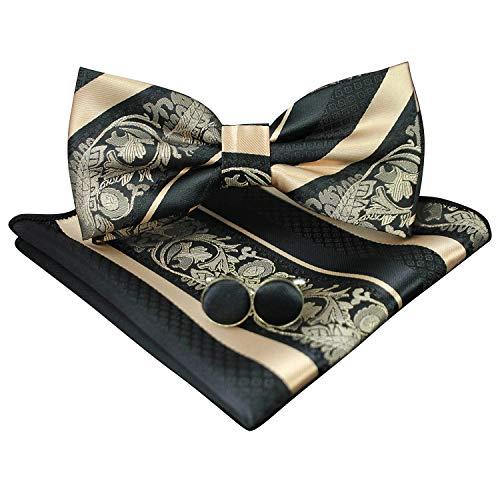 JEMYGINS Pajarita y pañuelo de bolsillo a rayas con diseño de flores para hombre dorado...