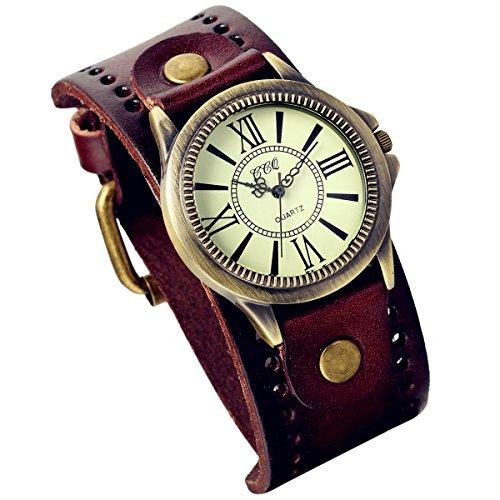 Lancardo Reloj de pulsera de cuero vintage con bisel de bronce de latón antiguo (marrón)...