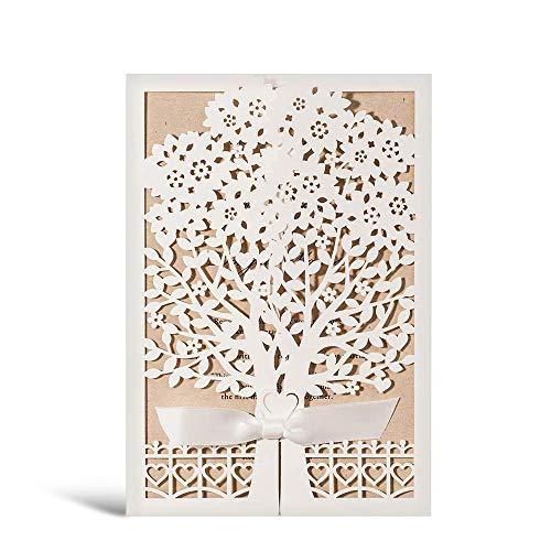 WISHMADE Tarjetas de invitaciones de boda con corte láser con invitaciones florales para...