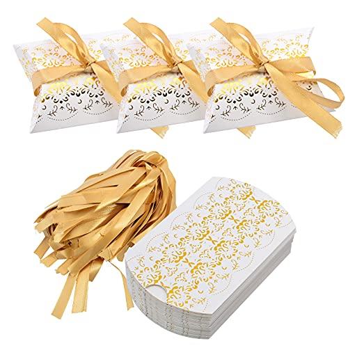 JAVOUKA 50 cajas de regalo para fiestas, papel blanco perlado, corte láser, decoración...