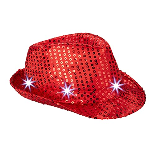 Relaxdays Gorro Fiesta Lentejuelas con Led, Color Rojo, Talla Única (10023897_47) ,...