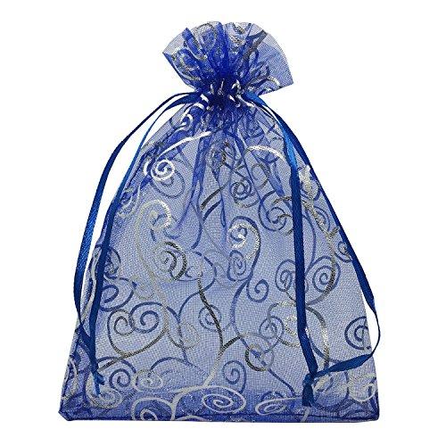 Fltaheroo 100 bolsas de organza de 10 x 15 cm, para regalos de boda, color azul marino con...