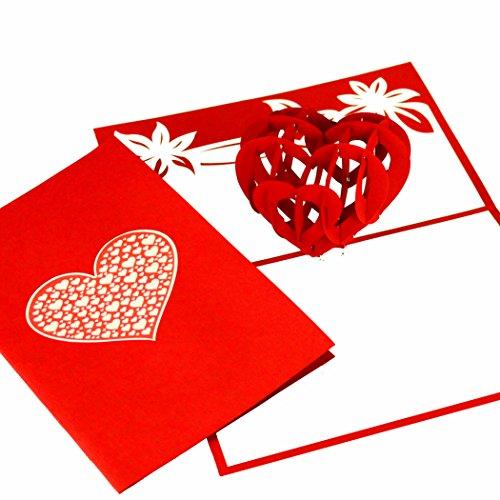 Tarjeta de boda 3D 'Liebesherz', invitación de boda Pop Up, tarjeta de San Valentín,...