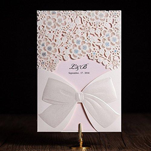 VStoy Tarjetas de invitaciones de boda cortadas con láser, color marfil, elegante lazo de...