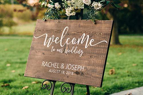 Placa de madera personalizada de bienvenida a nuestra boda cartel de boda decoración de...