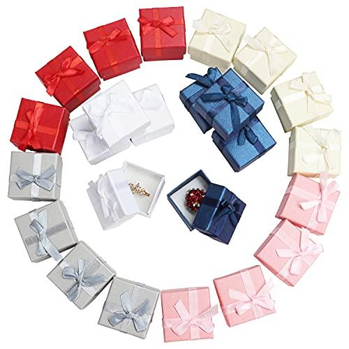 Kurtzy Cajas Bonitas para Regalo Anillos Joyas (Pack de 24) 4,1 x 4,1cm Cajas de Regalo...