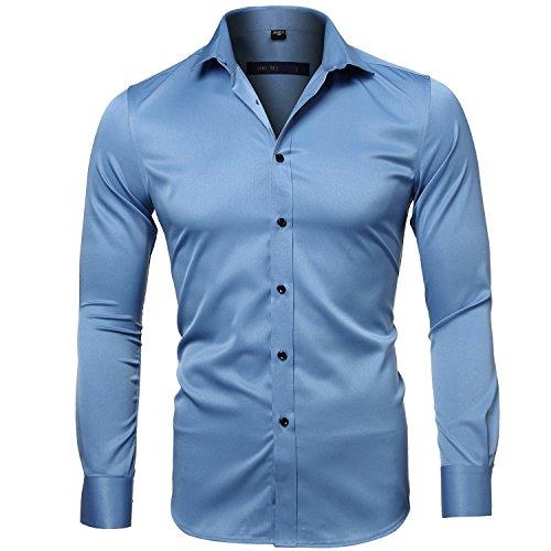 Camisa Bambú Fibra Hombre, Manga Larga, Slim Fit, Camisa Elástica Casual/Formal para...