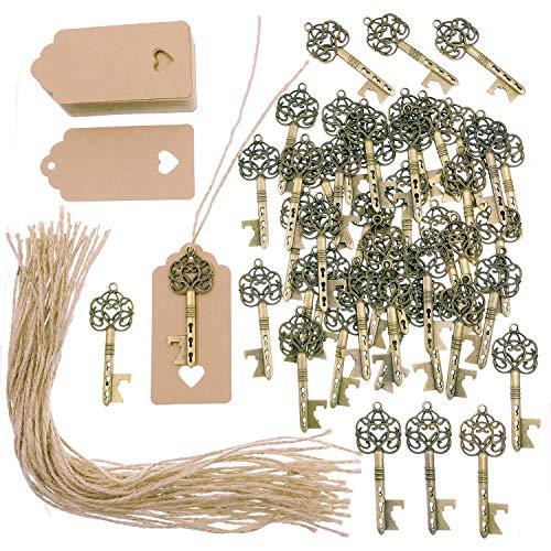 JZK 50 x Abrebotellas llave antigua con etiquetas kraft y cuerda de yute, llavero de...