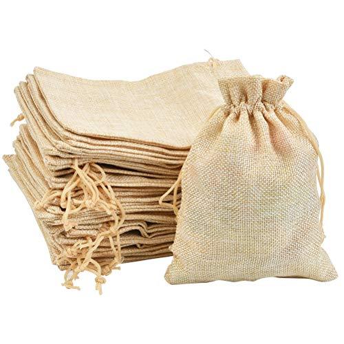 DODUOS 30 piezas Bolsa de Algodón 13x18cm Bolsa de Arpillera Reutilizable Bolsas de Lino...