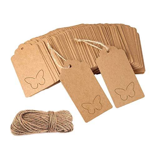 Etiquetas de regalo, 100 unidades, papel Kraft, para tus manualidades, Navidad, Boda, con...