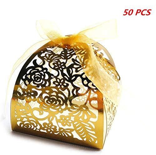 Julymall 50 Piezas cajas de regalo de boda huecas de flores de rosa cortadas con láser,...