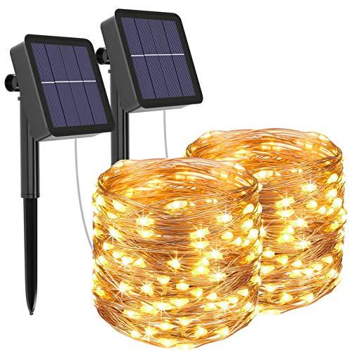 [2 Pack] Guirnaldas Luces Exterior Solar, Litogo Luces Led Solares Exteriores Jardin 12m...