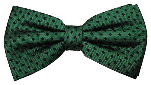 Pajarita de seda en verde verde esmeralda azul lunares