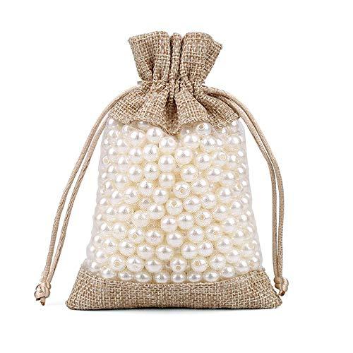 Bolsa de lino de 50 piezas Bolsita de organza Costura con cordón Bolsa de embalaje de...
