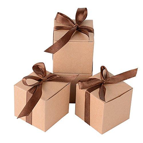 AONER 100 x Cajas de Caramelo Dulce Bombones para Bautizo Boda 5 * 5 * 5cm Regalos...