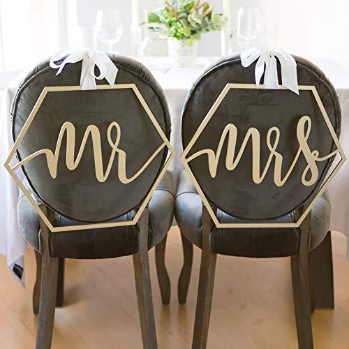 Prosperveil - Cartel de madera para silla de boda con cinta de regalo, guirnalda rústica...