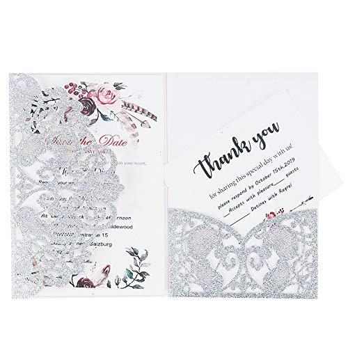 LONGBLE 20 unidades de invitaciones de boda con corte láser de color plateado brillante,...