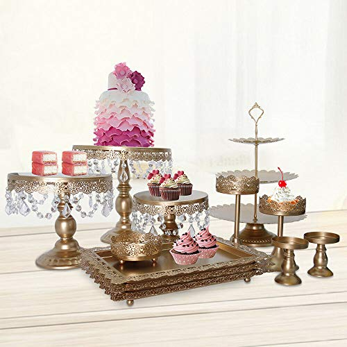 HaroldDol 12 soportes dorados para tartas de boda, decoración de tartas, cupcakes,...